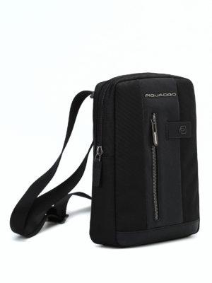 PIQUADRO: borse a spalla online - Borsello nero in tessuto e pelle