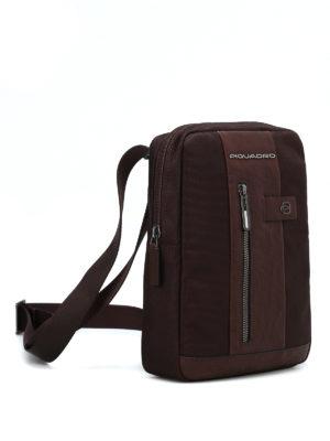 PIQUADRO: borse a spalla online - Borsello marrone in tessuto e pelle