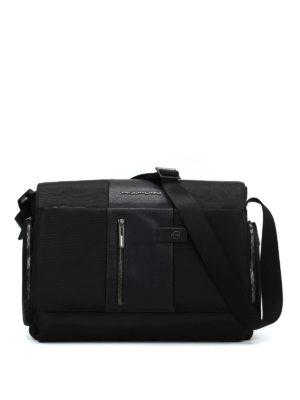 PIQUADRO: borse a spalla - Messenger nera in tessuto e pelle