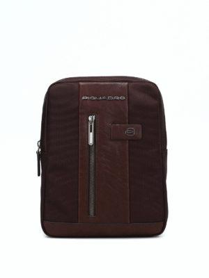 PIQUADRO: borse a spalla - Borsello marrone in tessuto e pelle