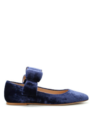Polly Plume: flat shoes - Bonnie Bow blue velvet flat shoes