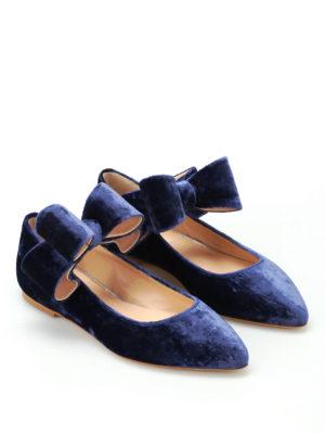 POLLY PLUME: ballerine online - Ballerine Bonnie Bow in velluto blu