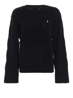 POLO RALPH LAUREN: maglia collo rotondo - Pullover in merino a trecce con maniche ampie