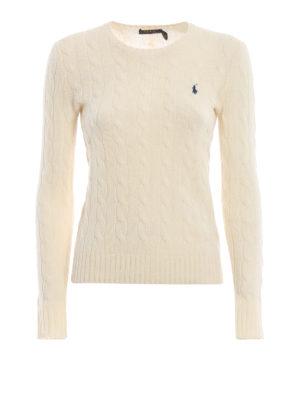 POLO RALPH LAUREN: maglia collo rotondo - Pull crema in merino e cashmere a trecce