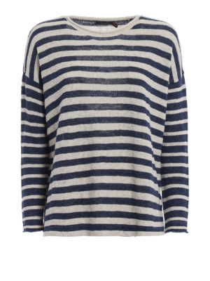 Polo Ralph Lauren: crew necks - Striped cotton linen over sweater