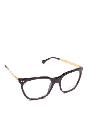 POLO RALPH LAUREN: Occhiali - Occhiali squadrati in acetato nero e metallo