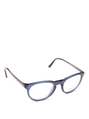 POLO RALPH LAUREN: Occhiali - Occhiali ovali in acetato blu e metallo