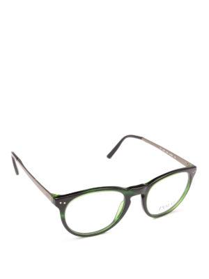 POLO RALPH LAUREN: Occhiali - Occhiali ovali in acetato verde e metallo