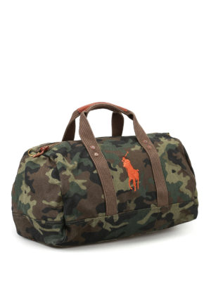 Polo Ralph Lauren: Luggage & Travel bags online - Orange logo camu duffle bag