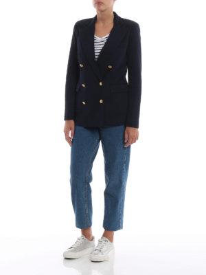 POLO RALPH LAUREN: giacche blazer online - Blazer doppiopetto in jersey blu