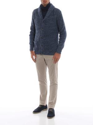 POLO RALPH LAUREN: cardigan online - Cardigan blu chiaro in cotone a coste inglesi