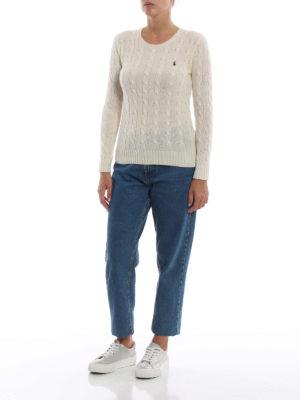 POLO RALPH LAUREN: maglia collo rotondo online - Pull crema in merino e cashmere a trecce
