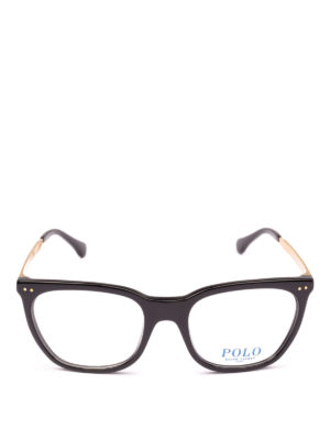 POLO RALPH LAUREN: Occhiali online - Occhiali squadrati in acetato nero e metallo