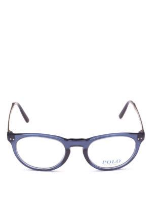 POLO RALPH LAUREN: Occhiali online - Occhiali ovali in acetato blu e metallo
