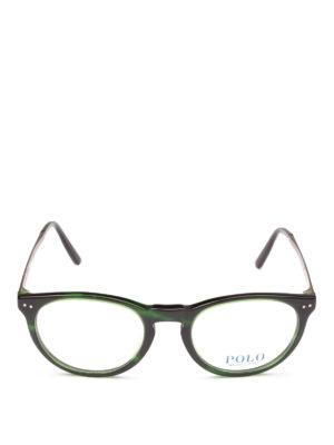 POLO RALPH LAUREN: Occhiali online - Occhiali ovali in acetato verde e metallo