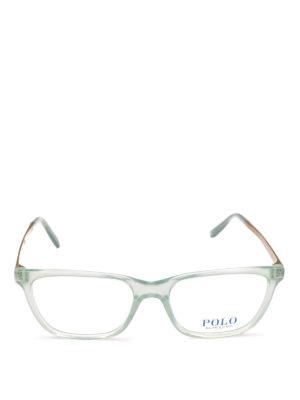 POLO RALPH LAUREN: Occhiali online - Occhiali rettangolari in acetato trasparente