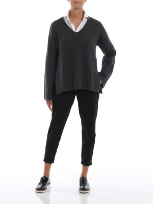 POLO RALPH LAUREN: maglia collo a v online - Pullover in merino e cashmere a coste inglesi