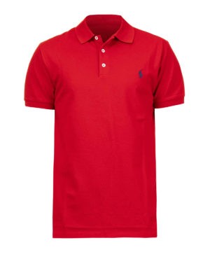 POLO RALPH LAUREN: polo shirts - Logo red pique cotton polo shirt