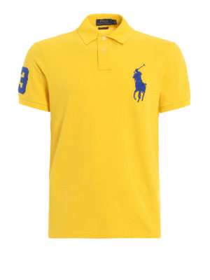POLO RALPH LAUREN: polo shirts - Yellow maxi logo polo shirt in pique cotton
