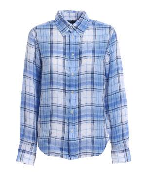 Polo Ralph Lauren: shirts - Blue check pattern linen shirt
