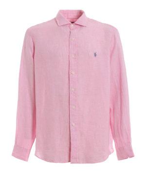 POLO RALPH LAUREN: shirts - Candy pink linen shirt