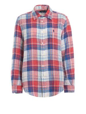 POLO RALPH LAUREN  camicie - Camicia in lino bicolore a quadri ae31ad5704bd