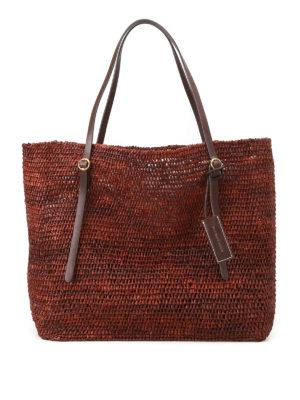 Polo Ralph Lauren: totes bags - Dark brown raffia large tote
