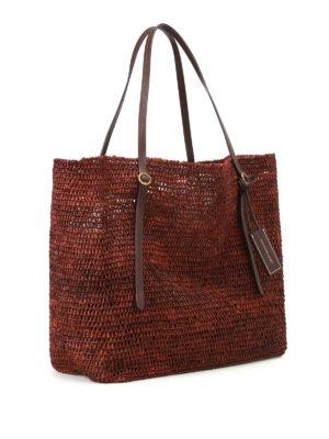 Polo Ralph Lauren: totes bags online - Dark brown raffia large tote