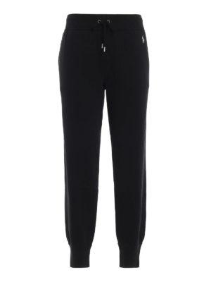 POLO RALPH LAUREN: pantaloni sport - Pantaloni neri in misto cotone felpato