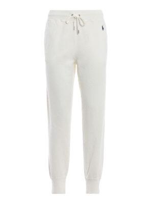 POLO RALPH LAUREN: pantaloni sport - Pantaloni bianchi in misto cotone felpato