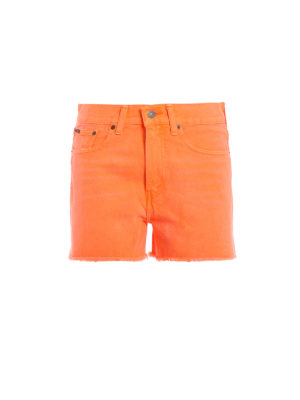 POLO RALPH LAUREN: pantaloni shorts - Shorts The Shawe in denim arancio fluo
