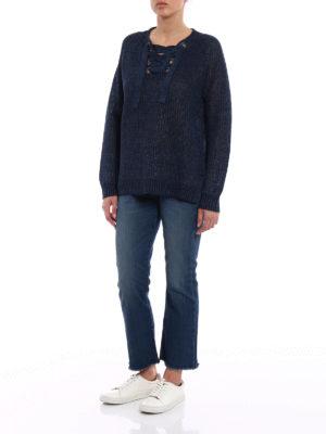 Polo Ralph Lauren: v necks online - Navy linen over sweater
