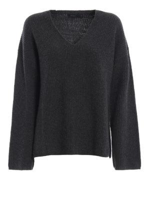 POLO RALPH LAUREN: maglia collo a v - Pullover in merino e cashmere a coste inglesi