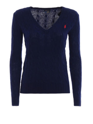 Polo Ralph Lauren: v necks - Twist knit wool cashmere sweater
