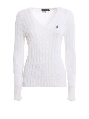 POLO RALPH LAUREN: v necks - White twist Pima cotton sweater