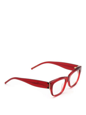 Pomellato: glasses - Red acetate square eyeglasses