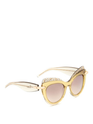 Pomellato: sunglasses - Maxi cat-eyes yellow sunglasses
