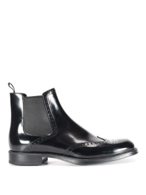 Prada: ankle boots - Brushed leather brogue ankle boots