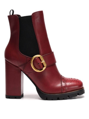 Prada: ankle boots - Buckle detail leather booties