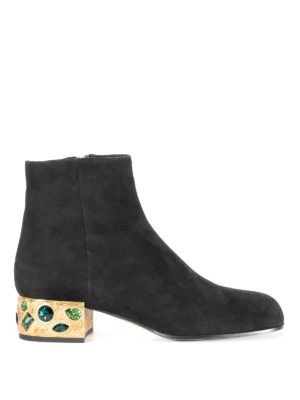 Prada: ankle boots - Jewel heel suede ankle boots