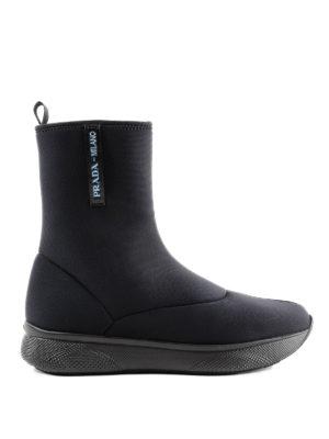 PRADA: tronchetti - Tronchetti stile sneaker in neoprene