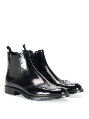 Prada: ankle boots online - Brushed leather brogue ankle boots