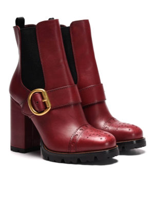 Prada: ankle boots online - Buckle detail leather booties