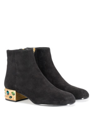 Prada: ankle boots online - Jewel heel suede ankle boots
