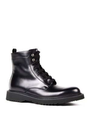 Prada: ankle boots online - Laced-up leather booties