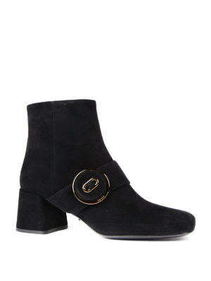 Prada: ankle boots online - Suede ankle boots with buckle