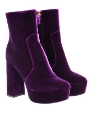 Prada: ankle boots online - Velvet ankle boots with zip
