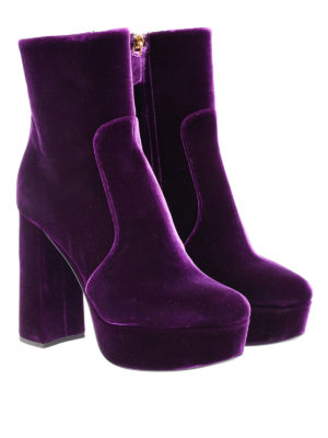 Prada: ankle boots online - Velvet platform ankle boots