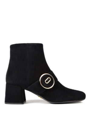 Prada: ankle boots - Suede ankle boots with buckle