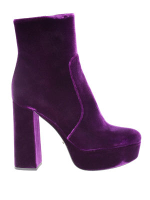 Prada: ankle boots - Velvet ankle boots with zip